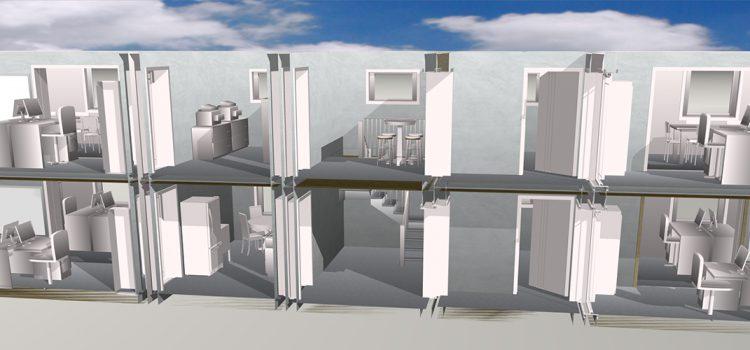 Container aus Holzrahmenbau als mobiler Büroraum